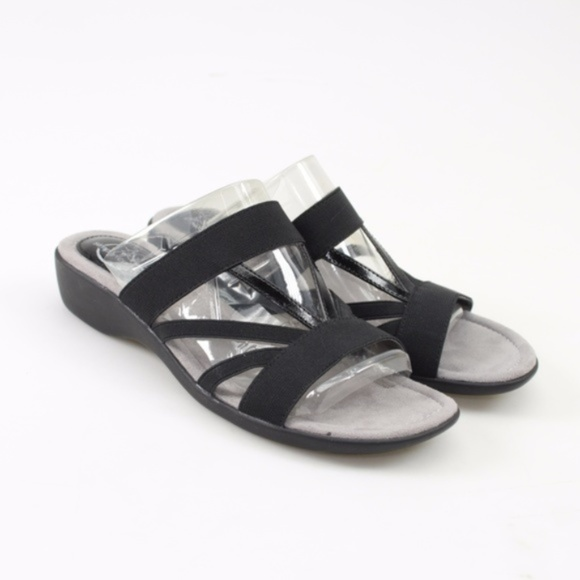204a3130e4f Life Stride Tanner Black Wedge Sandals // Size 8 NWT